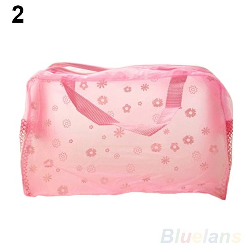 Hot Floral Print Transparent Waterproof Cosmetic Bag Toiletry Bathing Pouch 05RU(China (Mainland))