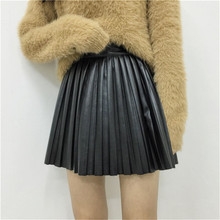 Buy pleated japanese skirts womens faux leather pu skirt high waist mini skirt women short skirts summer line black jupe ZY3040 for $11.11 in AliExpress store