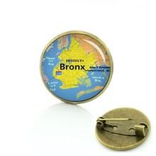 Tafree Panas dan Toko Bros Pin Globe Dunia Peta Kota Perhiasan Kaca Ubin Pin New York Boston Peta Lencana pria Wanita D724(China)