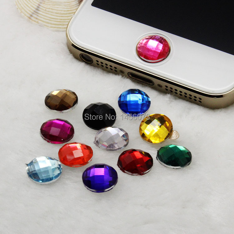 12pcs Acrylic Rhinestone Stickers cabochon Bling Diamond home button sticker for Apple iPhone crystal 5 4S 4 4G 3GS 3G PT9006(China (Mainland))