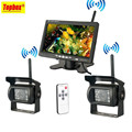Wireless 2 Backup Cameras Monitor Parking Assistance System Ir Night Vision Waterproof Rear View Camera 7