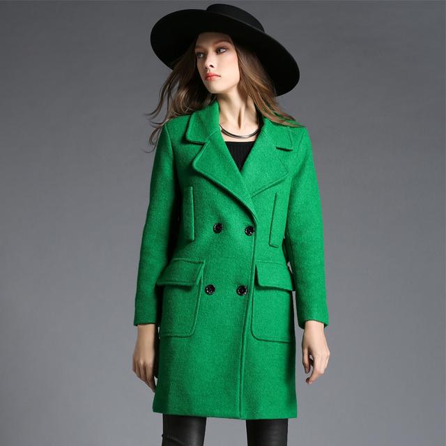 Манто Femme 2016 Зимние Куртки для Женщин Долго Шерстяное Пальто Женский Двубортный Темперамент Толстые Шерстяные Кашемировые Пальто 765155