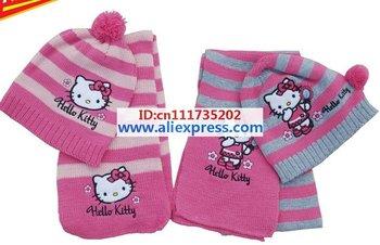 Christmas Gift free shipping 2015 girl fashion Girls love hello kitty fashion scarf +hat knitting 2color