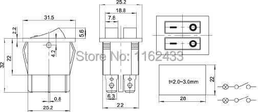 KCD6 double light rocker switch drawing