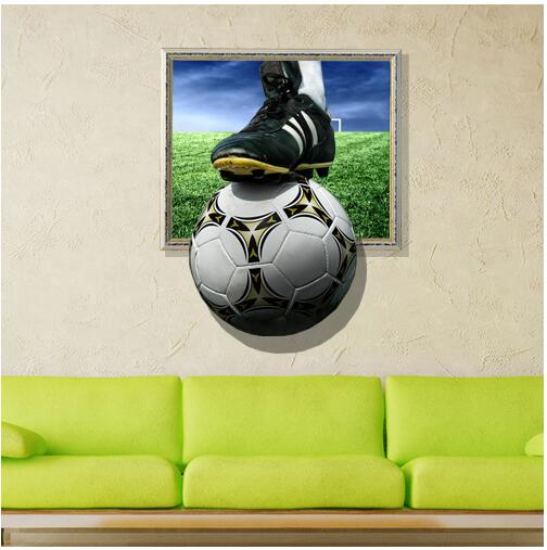 3D Wall Stickers Football Painting Kid's Room Ceiling Paintings Bedroom Football Wallpaper Home Wall Soccer World Painting(China (Mainland))