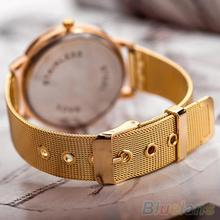 Women s Golden Color Butterfly Face Style Mesh Band Quartz Analog Wrist Watch 2BF1