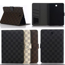 Business style Luxury Leather Case Cover for Samsung Galaxy Tab S2 9.7 SM-T810 T815 plaid skin Tablets with card slots S4A59D
