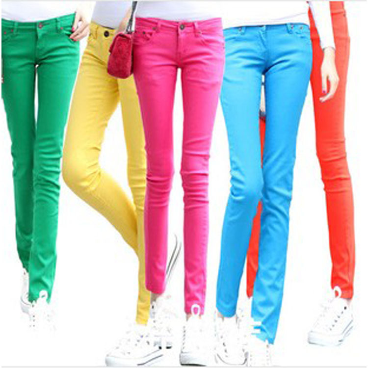 skinny jeans women colored trousers cheap mid rise denim ...