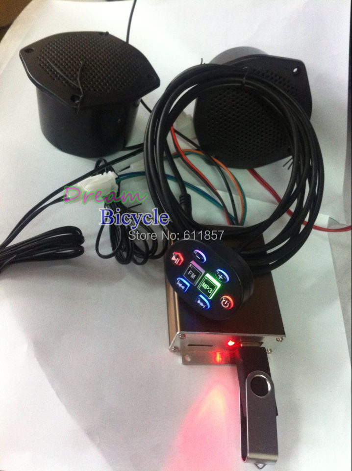 Wire control NEW Motorcycle MP3/scooter/motor bike/ATV mp3 player FM radio audio HI-FI music system support TF card - DreamTrading store