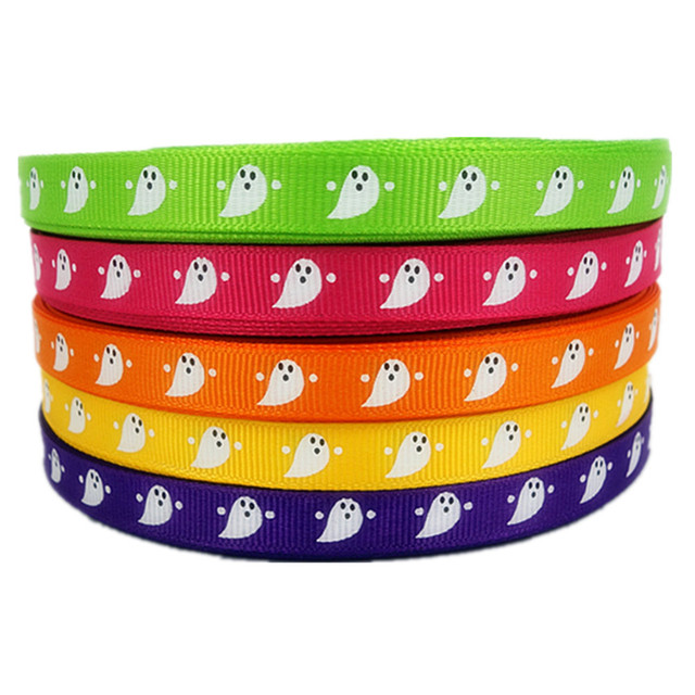 """50Yd 3/8"""" Halloween Ghost Cartoon Printed Grosgrain Ribbon 100% Polyester for Hairbow Sewing Supplies Handmade"""