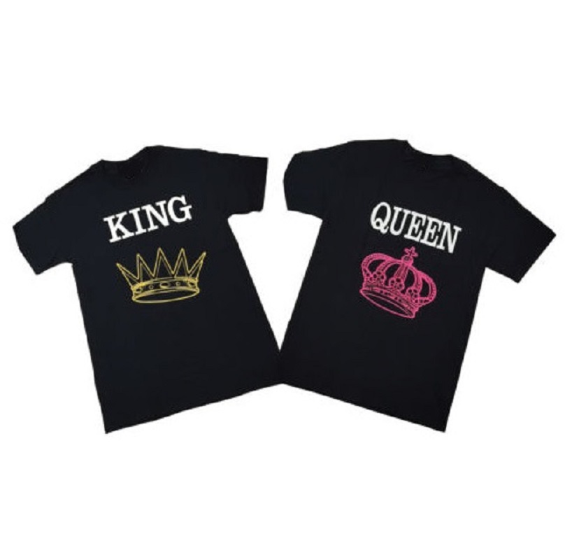 KING and QUEEN Couple T Shirt Love Matching Tops Fashion Design Letter Printed Cotton Tee Shirts For Men/Women Euro Size XS-3XL(China (Mainland))