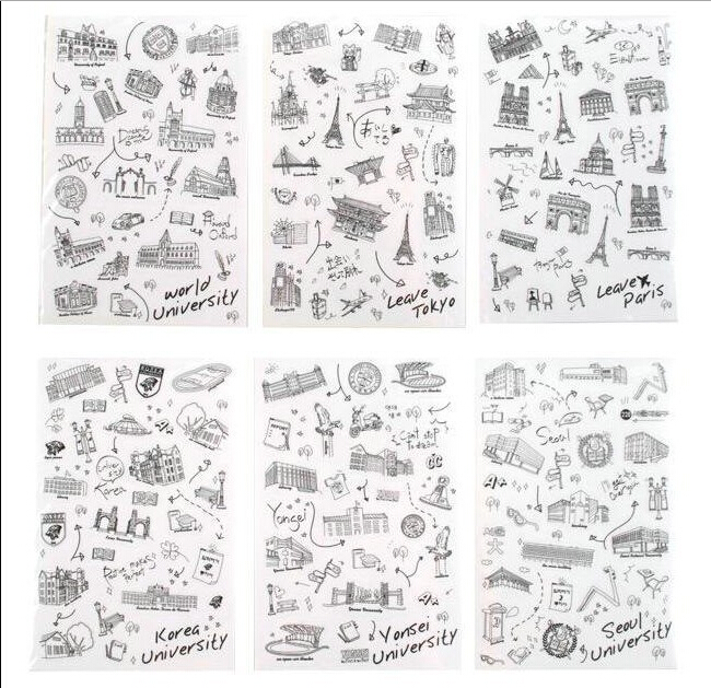 6 pcs/bag DIY Cute Famous Scenic Site Kawaii Paper Sticker Vintage Romantic For Diary Decoration Scrapbooking Stickers(China (Mainland))