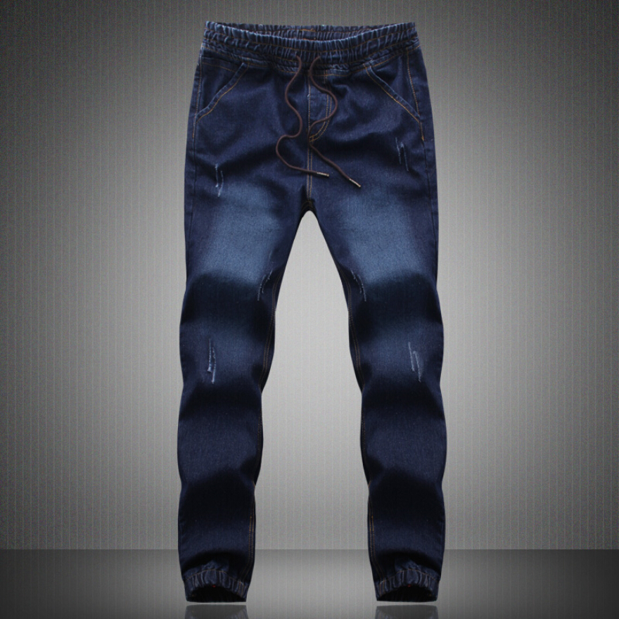 Fashion Plus Size Denim Men s jeans men Cotton Fit Drawstring jogger pants Sweatpants Men s