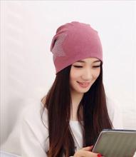 Factory Price 2016 Fashion New Women Knit Baggy Beanie Hat Winter Warm Bronzing Star Fashion Sleeve Head Cap(China (Mainland))