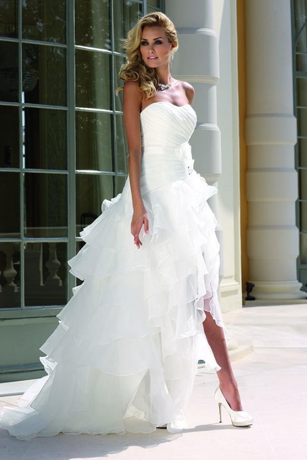 2015 ladybird beach wedding dresses high low white organza for White high low wedding dress