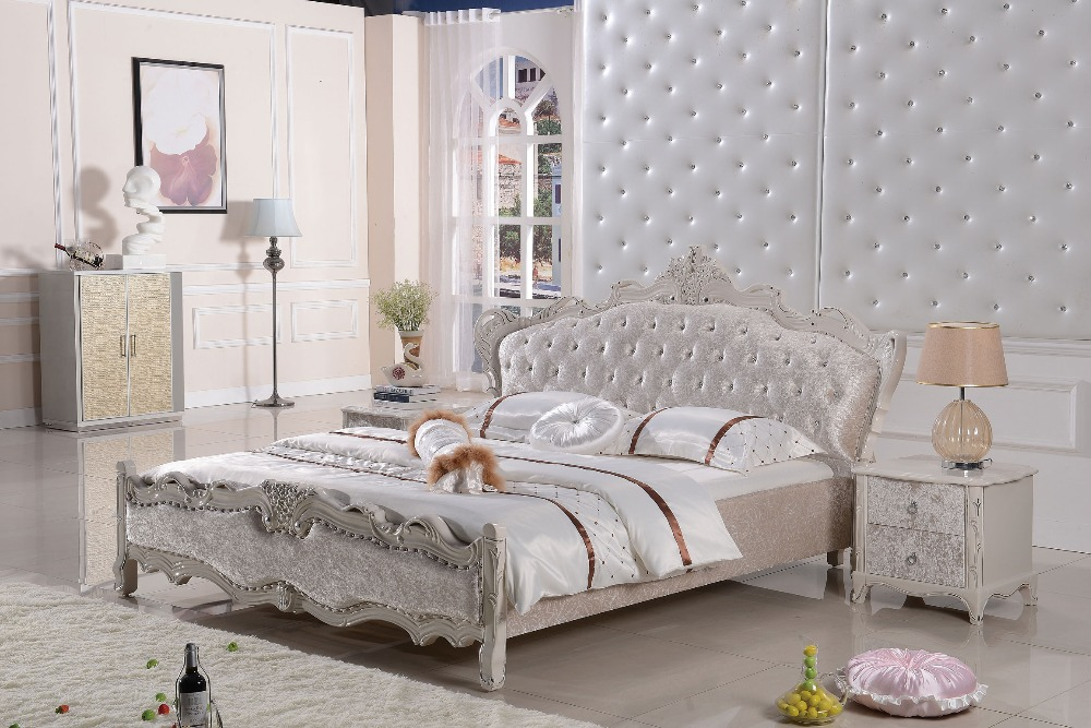 Modern designer fabric soft bed / large double bedroom furniture, American style(China (Mainland))