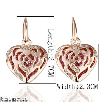 wholesale 18K Rose Gold plated fashion jewelry Austria Crystal,rhinestone,CZ diamond,Nickle Free Heart Drop earrings KE080