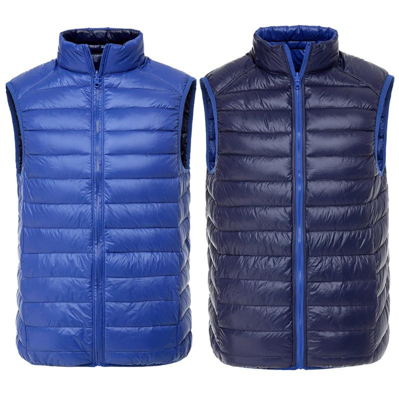 men 90% duck down vest Ultra Light Duck Down Vest Reversible two sided wear waistcoat Vest Sleeveless Jacket autumn winter coat(China (Mainland))