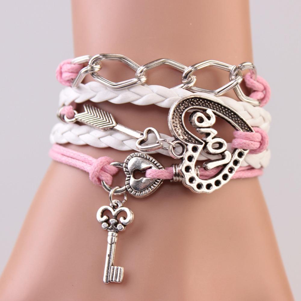 2014 New Handmade Bracelet Lock key Cupid's Arrow Charms Infinity Bracelet White Pink Leather Bracelet Women Best Couple Gift(China (Mainland))