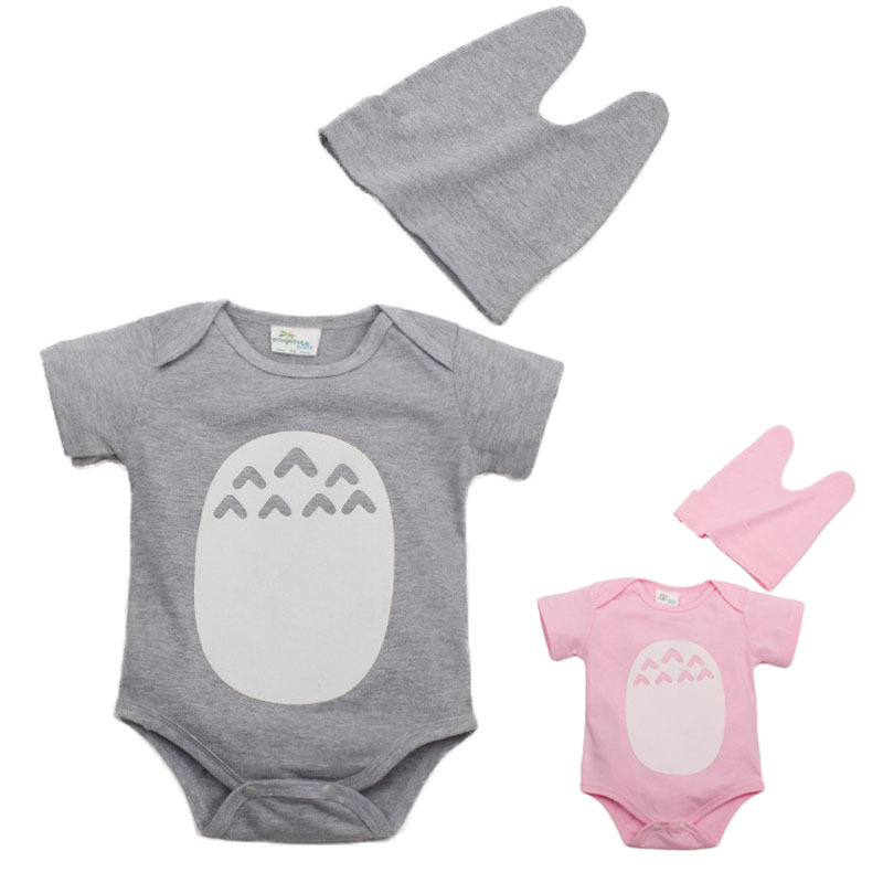 Hot 2016 Novelty Baby Summer Rompers Cute Totoro Design Bebe Boy Girl Jumpsuit+Hat 2pcs Clothing Set Infant Roupas(China (Mainland))