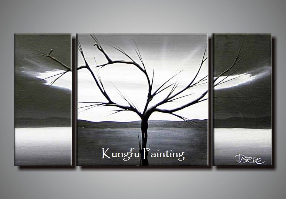 100 hand painted black white abstract art 3 panel canvas Black and white canvas art