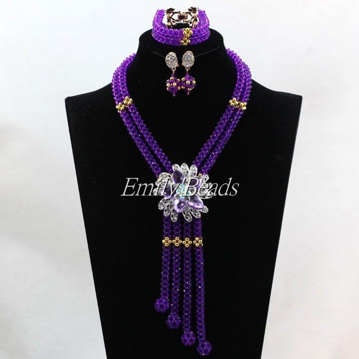 2016 Elegant Women Crystal Bridal Necklace Set Purple African Nigerian Wedding Beads Long Jewelry Set Free Shipping ALJ598