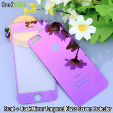 Luxury 2.5D Mirror Tempered Glass Protector for iPhone 5 5S Screen Protector Color Plate Arc Angle Tempered Glass for iPhone5 SE