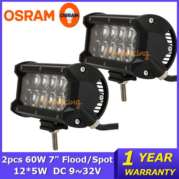 2PCS/LOT 7 inch 60W OSRAM LED Work Light Bar Car DC12V 24V Pickup SUV UTV Truck Flood/Spot Beam ATV 4WD 4x4 Offroad Light Bar(China (Mainland))