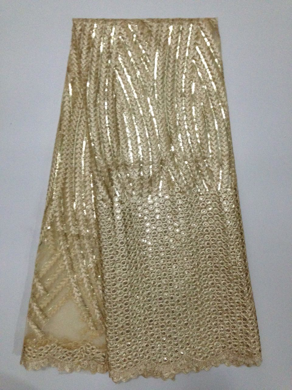 African French Net Lace Fabric gold thread lace beaded fabric Wedding Dress MJKY319K - MJKY Bud silk textile company store
