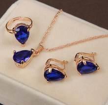 מחיר מדהים אפריקאים סטי תכשיטי כלה זהב צבע שרשרת עגילי טבעת חתונה קריסטל sieraden נשים אופנה תכשיטי סט(China)