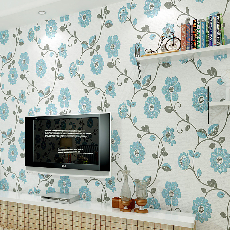 Quality fabric mural paper flocking wallpapers/Luxury wallpaper sky blue wall papers for living room(China (Mainland))