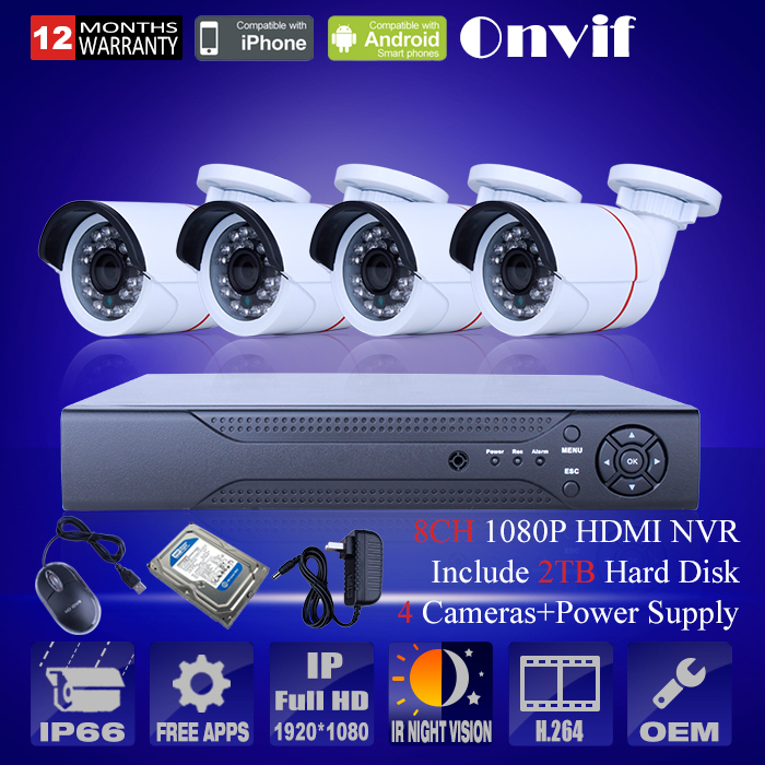 4PCS 1080P HD Mini IP Camera Security Camara ONVIF H.264 8 Channel NVR Video Surveillance Outdoor Camera CCTV System<br><br>Aliexpress