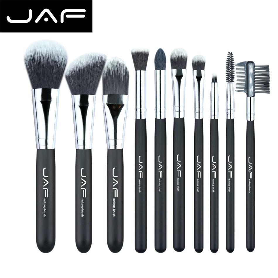 JAF Professional 10 pieces Cosmetic Makeup Brush set Soft Taklon Fiber Pincel Maquiagem Make-up Brushes Tool Kit J10NNS