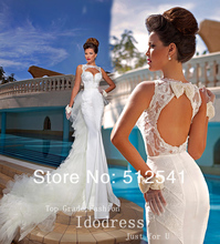 Detachable Train Wedding Dresses Mermaid Trumpet Sheer Sweetheart Applique Pearls Satin Backless Bridal yk8R837(China (Mainland))