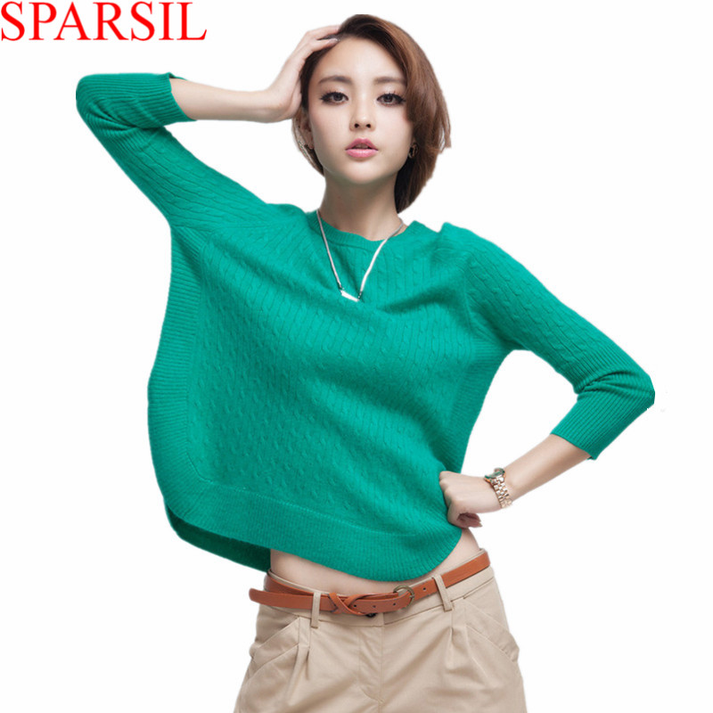 Sparsil Women Winter Autumn O-Neck Knitted Cashmere Blend Pullovers Female Unique Sweet Design Hem Sweater Short&Loose Style(China (Mainland))