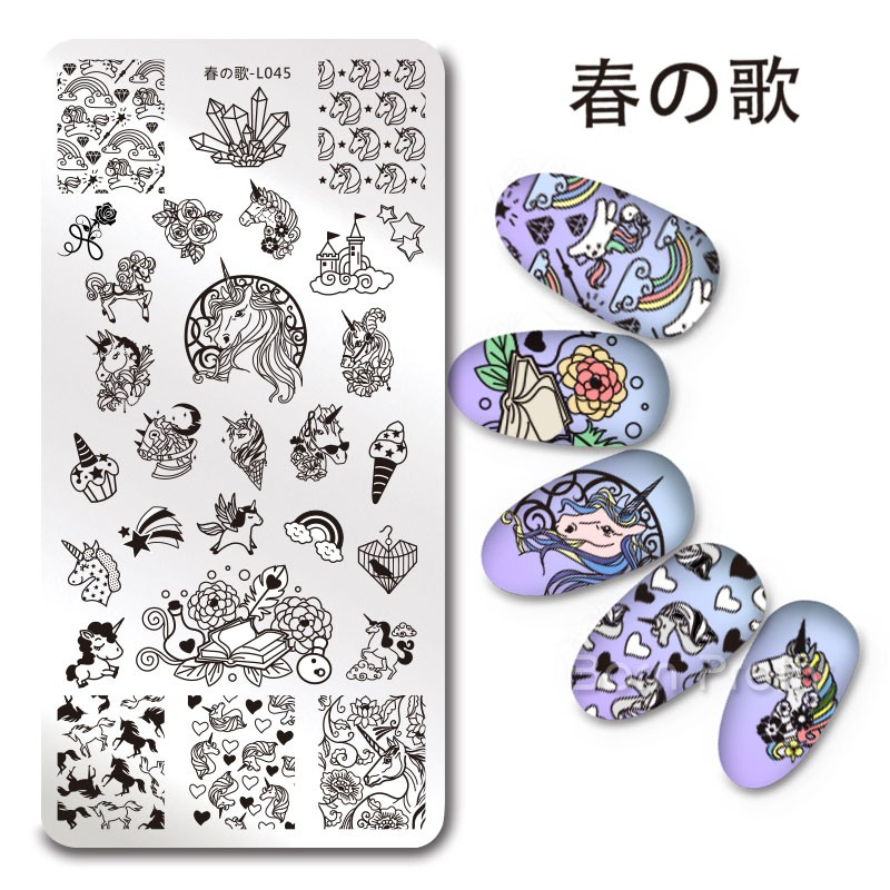1Pc Rectangle Stamping Plate Unicorn Bear Flower Star Moon Origami Pattern Template Manicure Nail Art Plate Harunouta L045