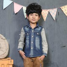 2016 children's clothing male child denim shirt child long-sleeve shirt 100% cotton patchwork