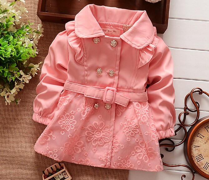 2015 Children Outerwear trench jacket Spring autumn Babi Girls Jackets child Coats Baby Girls clothing kids belt clothes Retail(China (Mainland))