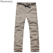 Quick Drying Hiking Mens Pants Can Removable To Hiking Shorts Casual Camping Pants & Outdoor Trousers Men Plus Size 3 Colors