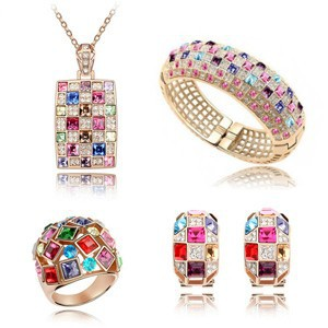 Fashion crystal jewelry set, gold plated luxury exquisite colorful crystal necklace + earrings + bracelet + ring-B31A17E50C22