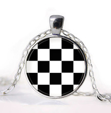 2016 Black and white squares Plaid Tartan Jewelry Girl Round Pendant Necklace Girls Sweater Chain Gift For her free