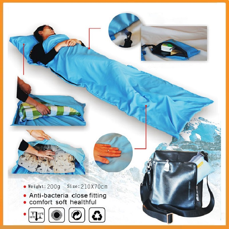 High quality Ultra-light Single Polyester Pongee Healthy Sleeping Bag Liner Portable Camping Travel Sleeping Bag Dropshipping(China (Mainland))