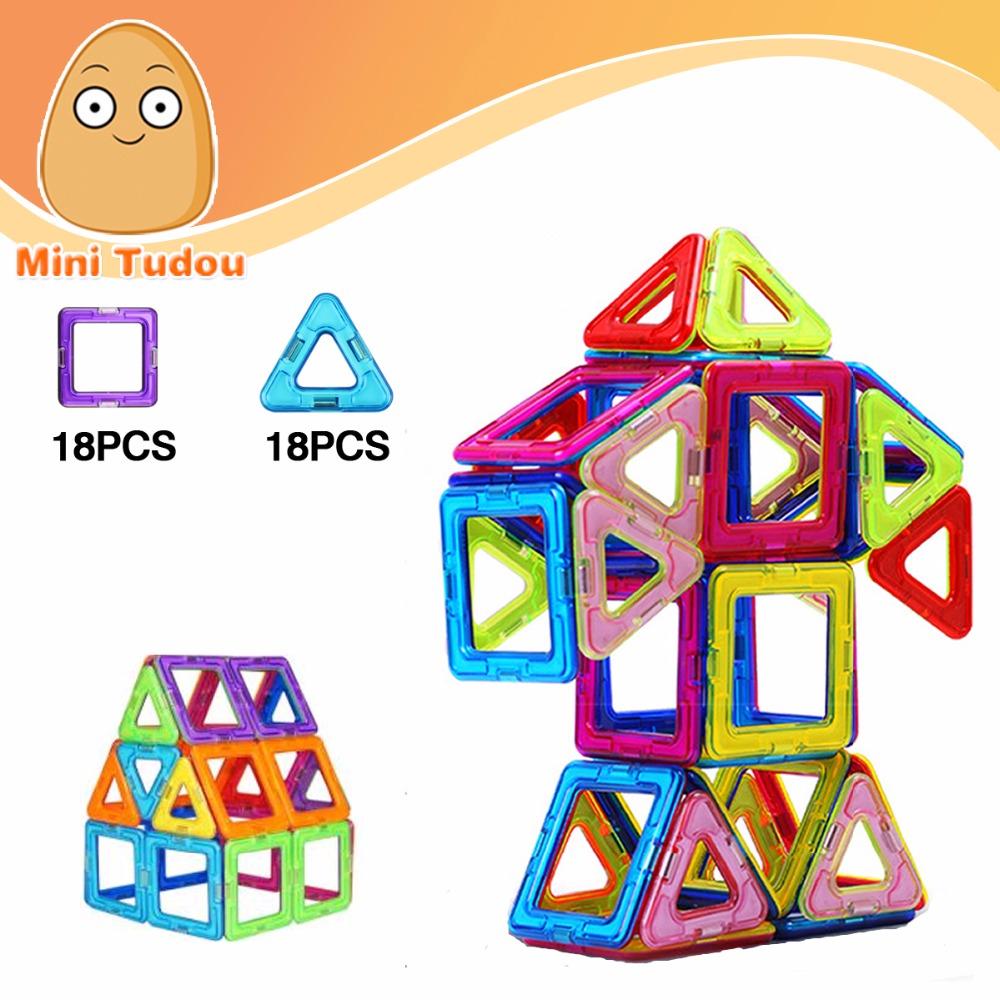 Minitudou Toy 36 PCS Kids Toys Plastic Educational Toys Airplane Robot Kit Magnetic Building Blocks Models Brick Miniatura(China (Mainland))