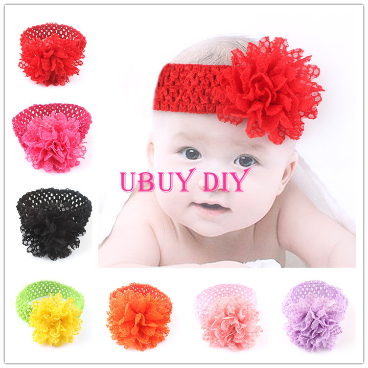 Retail CHOOSE YOUR COLOR Newborn Baby Crochet Headbands Infant Toddler Baby Girl's Elastic Cotton Headbands Hairbands(China (Mainland))