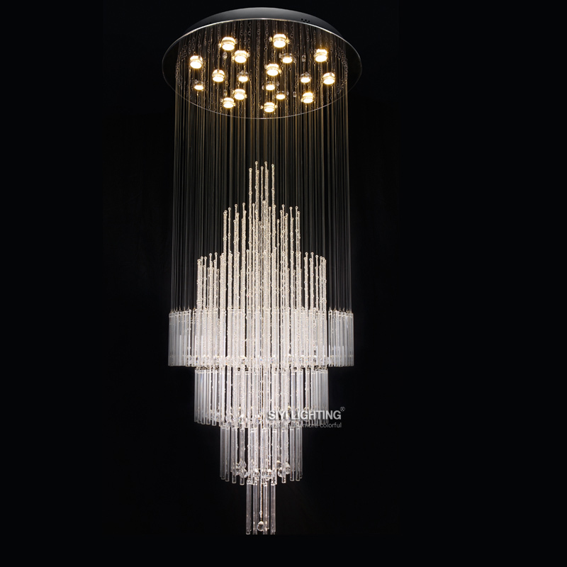 Fashion design round crystal chandelier modern living room for Dining room pendant lights