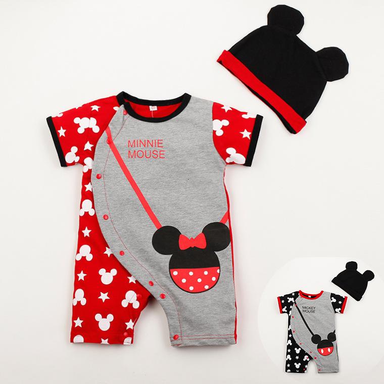 2015 Summer Style Newborn/Infant/Toddler Short Sleeve Bodysuits+Hat Baby Boy/Girl Mouse Bag Pattern Para 0-24M Roupa Infantil(China (Mainland))