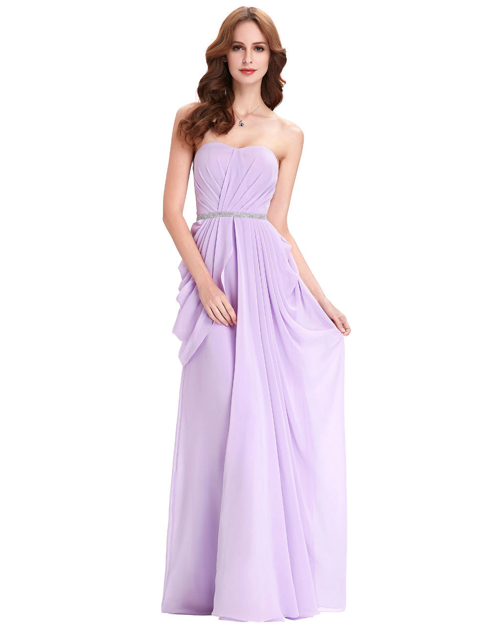 Evening Dresses Elegant Chiffon Floor Length Robe De Soiree Lavender Purple Formal Dress Strapess Ruffles Evening Dress Gowns(China (Mainland))
