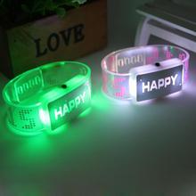 Novelty LED Glow Wrist Strap Band Bracelet Happy Letters Flash Light Wrist Strap (China (Mainland))