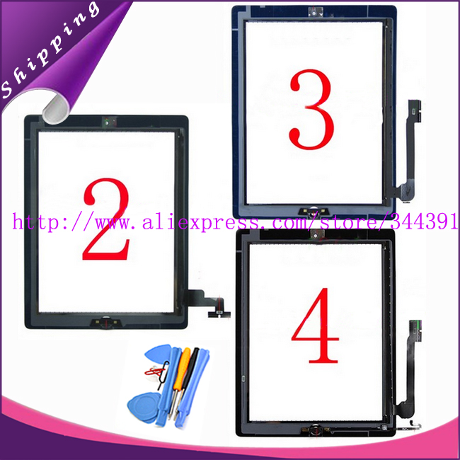50pcs/lot 100% tested Touch Screen Digitizer For ipad 2 3 4+home button flex +sticker +camera holder complete DHL Free Shipping<br><br>Aliexpress