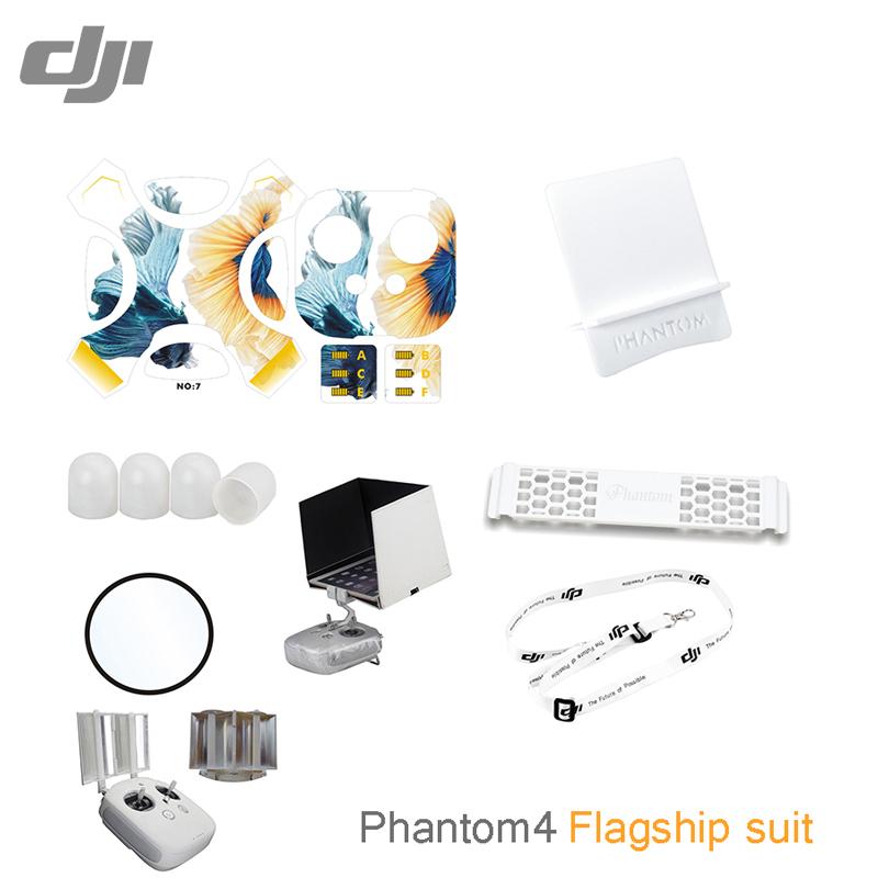 Фотография 9pcs/set Flagship accessories suit For DJI Phantom 4 Stickers camera  film motor protective bottom plate signal enhancer for UAV